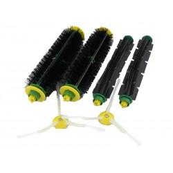 Zestaw szczotek: 2 główne, 2 gumowe, 2 boczne (dla zielonej i czerwonej głowicy czyszczącej)