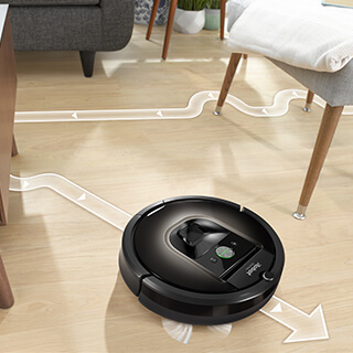 Roomba navigating around chairs and tables