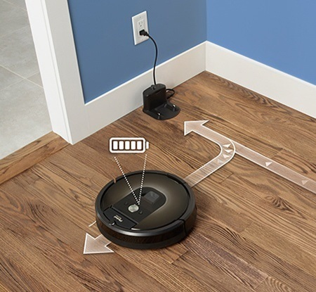 Roomba automatically recharges and resumes cleaning to complete the entire job.