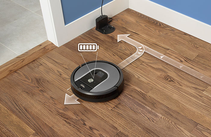 iRobot Roomba runs continuously for up to 2 hours and automatically recharges
