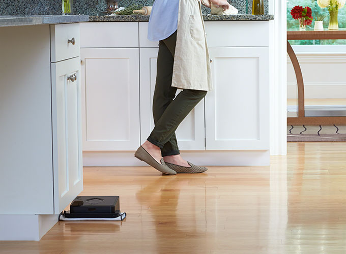 Braava sweeps for up to 240 minutes or mops for up to 150 minutes on a single charge.