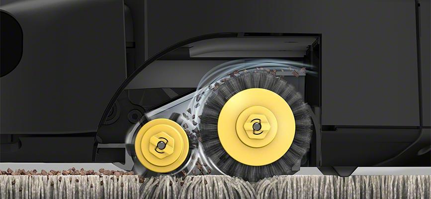 iRobot Roomba serii 600 zbliżenie na dwie szczotki główne