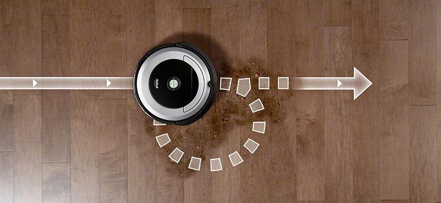 iRobot Roomba serii 600 używa systemu wykrywania większych zabrudzeń Dirt Detect