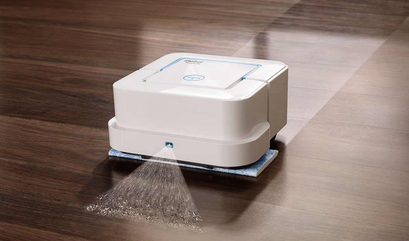 Braava jet ™ tackles dirt and stains like a pro. Precision Jet Spray and Vibrating Cleaning Head loosen dirt and stains while Braava jet Cleaning Pads break up and lock away dirt.